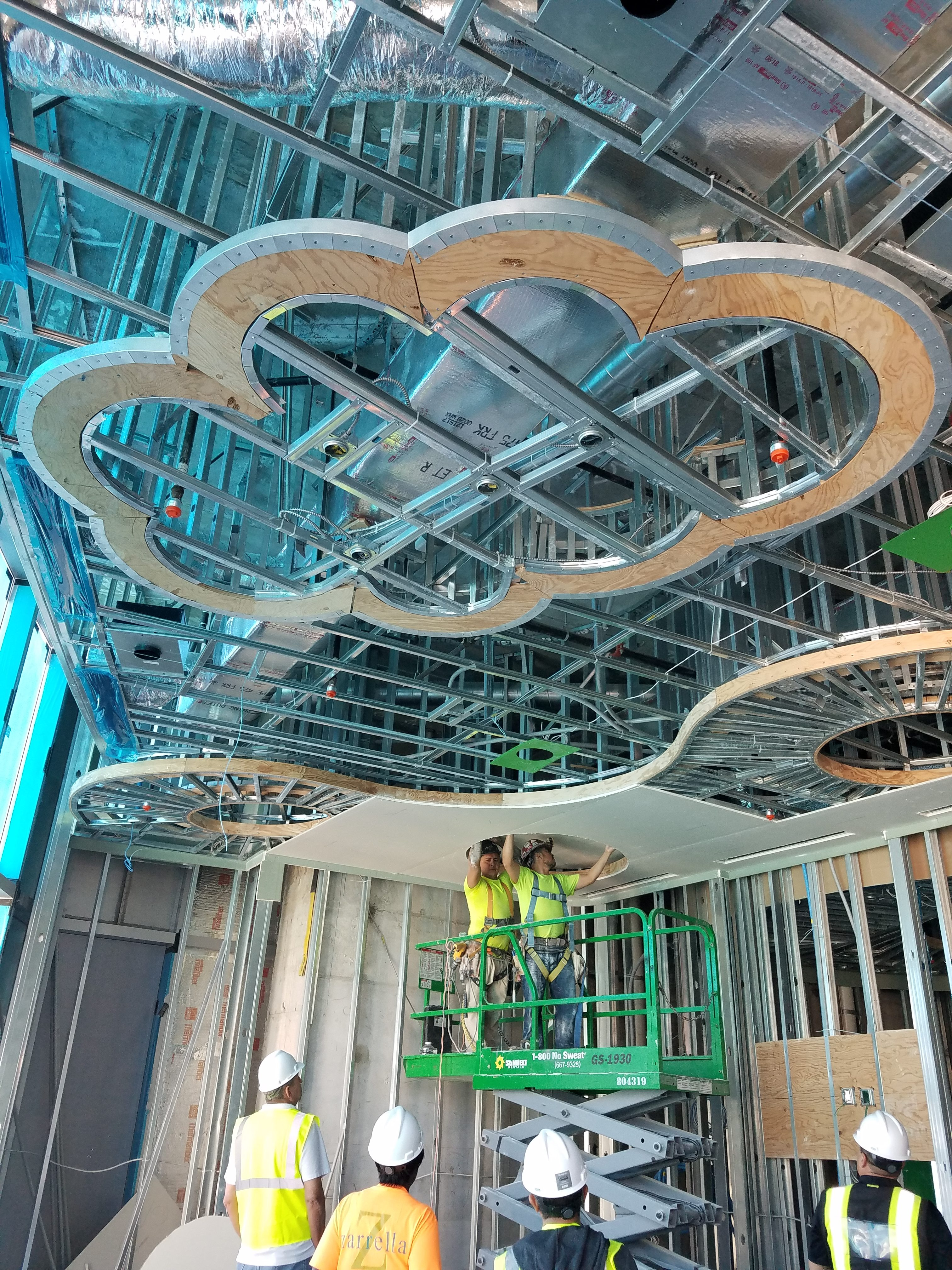paramount ceiling 7th floor placing tiles